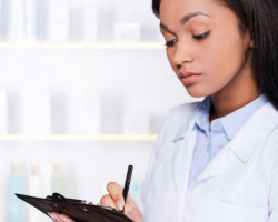 pharmacist writing